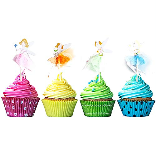 JINMURY 24 Stücke Fee Themen Kuchendeckel Toppers für Kinder Geschenkparty Mädchen Geburtstag Party Kuchen Dekoration Lieferungen