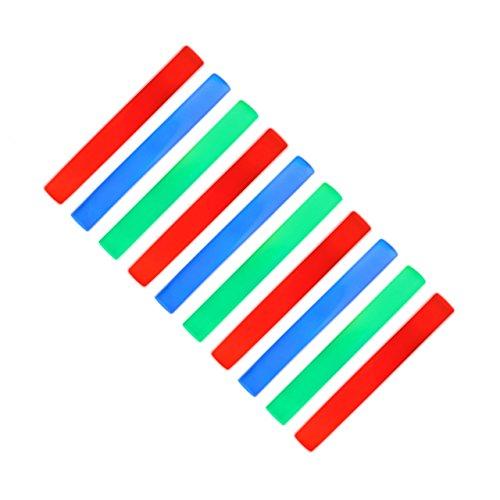 10 x Leuchtstab mit 3 LED, Schaumstoffstab 6 Effekte, Partystick mit Farbwechsel, rot / grün / blau