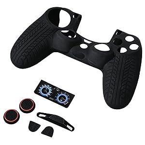 Hama 7-in-1 Zubehör Set für PS4/PS4 Slim/PS4 Pro Racing für Dualshock 4 Controller (Car Race Design, Skin Silikonhülle, Stick-Aufsätze, Touchpad Schutzfolie, Lightbar Sticker) custom schwarz