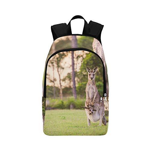 Nette und lustige Nahaufnahme des Kängurus beiläufige Daypack-Reisetasche College School Rucksack für Männer und Frauen Fell Nylon Parka