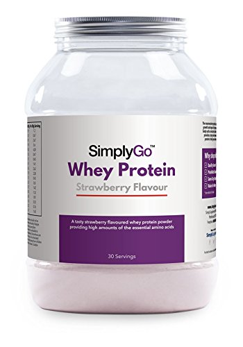 SimplyGo Whey Protein Powder | 900g | Delicious Strawberry, Chocolate, Banana Or Vanilla Flavoured Muscle Building Supplement| Simply Add 30g to Water, Juice Or Shakes (Strawberry)