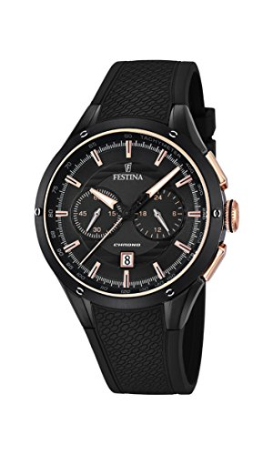 Festina Men's Quartz Watch with Black Dial Chronograph Display and Black Rubber Strap F16833/2