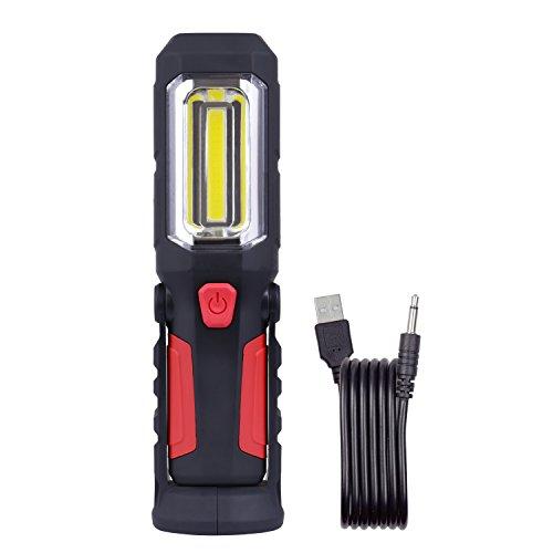 WOLFTEETH LED Lampada Lavoro Ricaricabile,Torcia da Campeggio con Calamita e Gancio, LED COB Luce per Auto/Garage/ Lavorare in Casa/Escursionismo