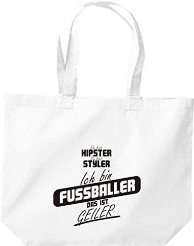 Shirtstown große Einkaufstasche, Shopper du bist hipster du bist styler ich bin Fussballer das ist geiler weiss