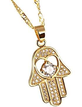 Damen Mode Fatima'S Hand Zirkon Weiß Vergoldet Halskette