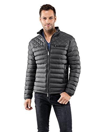 Vincenzo Boretti Herren Steppjacke slim-fit tailliert Übergangs-Jacke leicht dünn weich warm gefüttert für Frühling Herbst modern elegant - ein Style für Business und Freizeit anthrazit XL