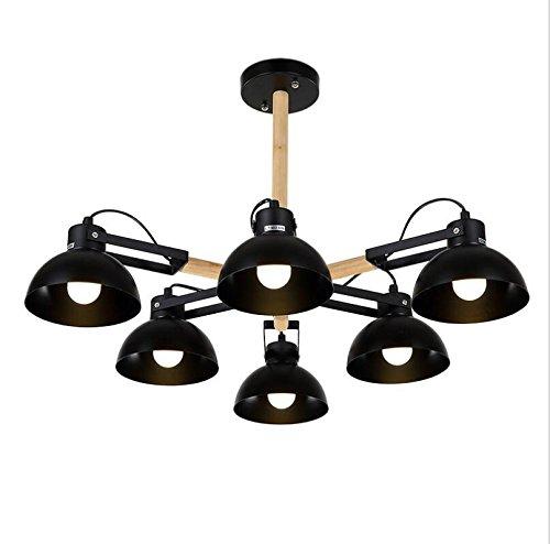 Suspensions Plafonnier loft moderne minimaliste salon lampe chambre restaurant en fer forgé solide bois art lampes