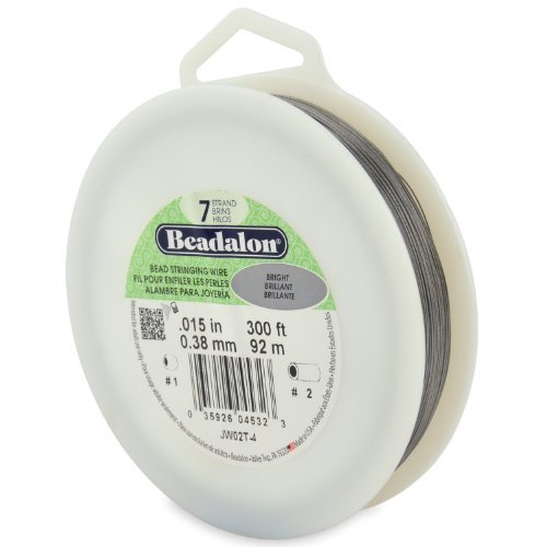 Beadalon 7-Strand Bead Stringing Wire, 0.015-Inch, Bright, 300-Feet by Beadalon