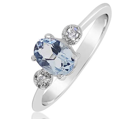 Anello Donna Fidanzamento Oro e Diamanti-Oro Bianco 9kt 375 Diamanti 0.03Carati-acquamarina 1,15Carati Clicca su MILLE AMORI blu e scopri tutte le nostre collezioni