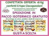 Confetti Crispo CONFETTATA OFFERTA 18 pacchi Ciocopassion per matrimonio, comunione, bomboniere, battesimo, laurea, confettata