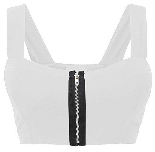 Women Celebrity top con zip frontale senza maniche, reggiseno da donna, crop top, taglia 40-46 White