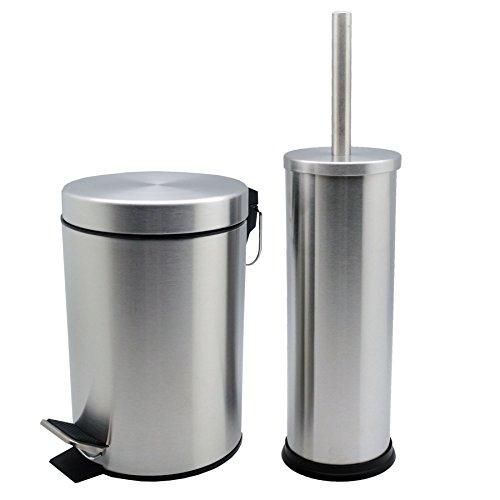 Badezimmer-Set mit Treteimer & Toilettenbürste - Eimer mit 3 Liter Volumen - Matte Oberfläche - 3l Bad Möbel