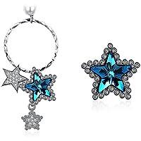 OMZBM Asymmetrische Ohrringe S925 Sterling Silber Stern Kristall Anhänger Ohrstecker Für Frauen Und Mädchen