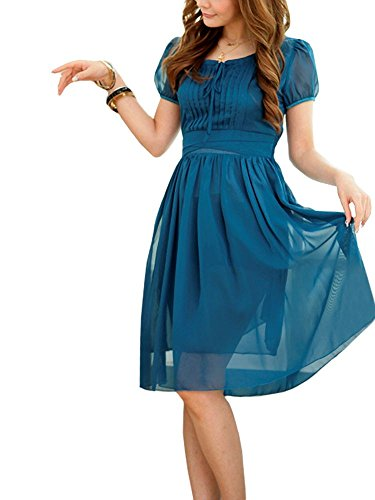 VIP Dress Chiffonkleid / Cocktailkleid / Abiballkleid kurz Blau Blau