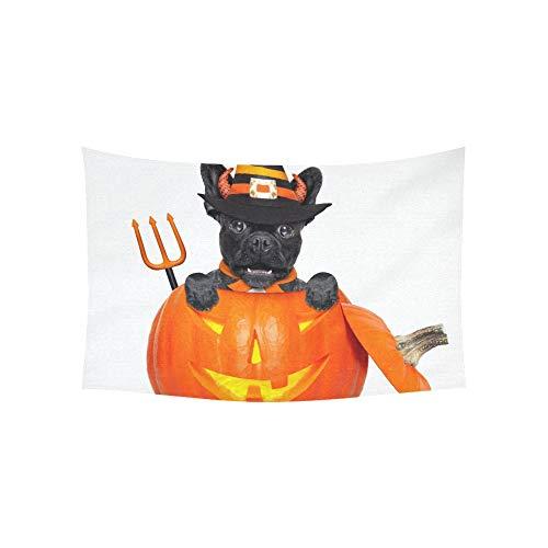 Wandteppich Halloween Devil französische Bulldogge Hund in Wandteppichen Wandbehang Blume psychedelischen Wandteppich Wandbehang indischen Wohnheim Dekor für Wohnzimmer Schlafzimmer 60 X 40 Zoll (Französisch Halloween In)