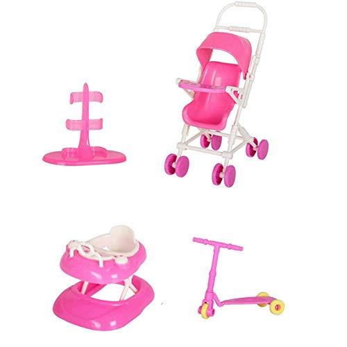 Accessori per Bambole Set Accessori per Bambola casa Giocattolo con Passeggino per Bambole Walker Scooter per Bambole Barbie