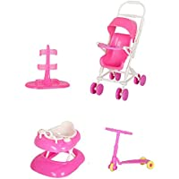 Doll Accessories Set Toy House Doll Accessories With Baby Stroller Walker Scooter Doll Stand For Barbie Dolls