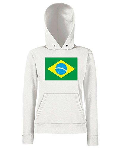 T-Shirtshock - Sweats a capuche Femme WC0041 BRAZIL BRSILE Blanc