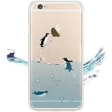 iPhone 4 / 4S Cover , YIGA Pinguino Nero Bianco Blu Trasparente Silicone Cristallo Morbido TPU Case Custodia per Apple iPhone 4 / 4S