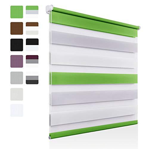 OUBO Doppelrollo Klemmfix ohne Bohren 70 x 150 cm (B x H) Grün-Grau-Weiß Fenster Duo Rollo