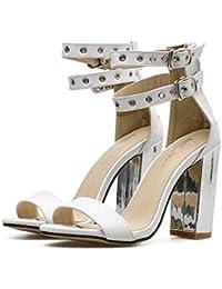 Bomba de 10 cm de metal Chunkly talón sandalias con correa de doble tobillo Zapatos de boda Zapatos de vestir...