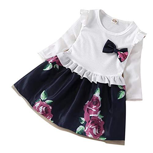 Innerternet Mädchen Kleidung Baumwolle Langarm T-Shirt Freizeit Kleid Herbst Kleid Floral Pattern Dress Outfit Clothes Kleid Langarm MäDchen