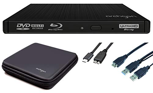 Archgon Star Externer 4K-UHD Player, Blu-ray BDXL Brenner für PC USB 3.0 USB-C, M-Disk, Tray Load disc Drive, Schutzbox, Alu schwarz