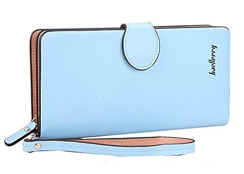 SAFATA Geldbörse Damen Portemonnaie Groß Geldbeutel Lang Portmonee Elegant Clutch Leder Geldtasche Handgelenktasche mit Reißverschluss für Frauen (Schönes Portemonnaie)
