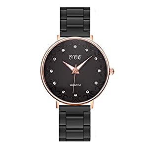 Damen Armbanduhr KiyomiQvQ Einfache Strass Zifferblatt Markenuhren Klassische Glaslinse Uhren Frauen Analog Quartz Watch Warmen Goldtönen Legierung Gehäuse Luxusuhren Schmuck