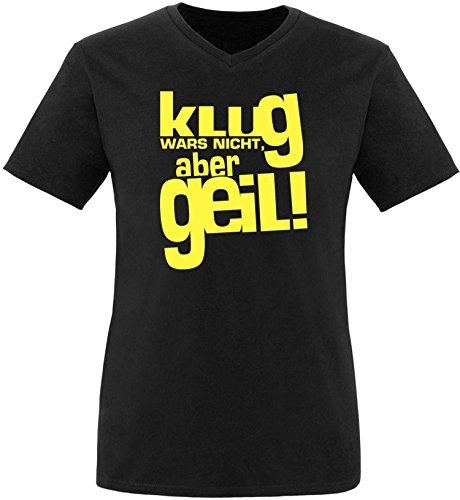 Luckja Klug war es nicht aber Geil Herren V-Neck T-Shirt Schwarz/Gelb