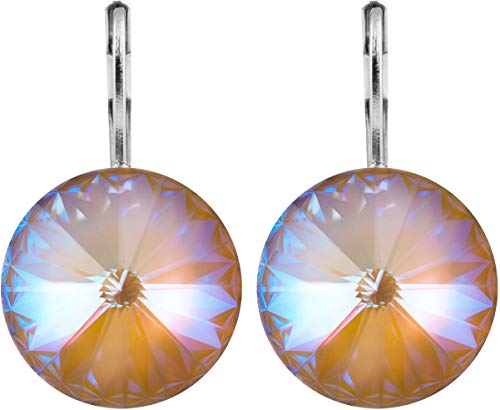 Messing Swarovski Strass Crystal (petra kupfer Damen Ohrringe Ohrhänger Rivoli 1 Swarovski®-Kristall 14 mm Hellbraun Cappuccino Delite Versilbert hk14tb-cappuccino-delite)