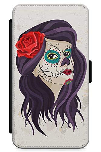 iPhone 6, iPhone 6s Case Zuckerschädel-Mädchen | Kunstleder Brieftasche Flip Card Slot Cover Kickstand | Tag Der Toten Dia De Muertos Mexikaner Kunst ()
