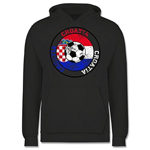 EM 2016 - Frankreich - Croatia Kreis & Fußball Vintage - Männer Premium Kapuzenpullover / Hoodie Dunkelgrau