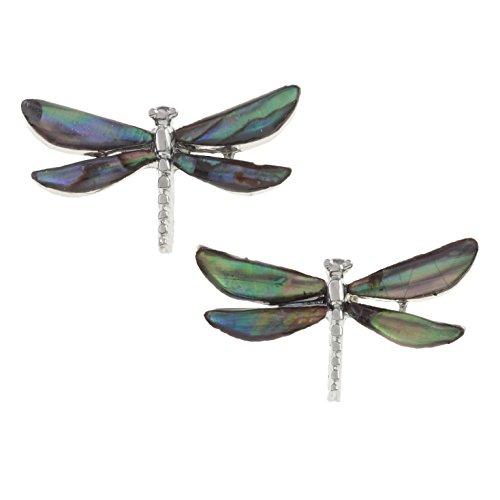 Schmuck Libelle Kostüm (Kiara Schmuck Ohrstecker Libelle mit natürlichen grünlichen blau intarsiert Paua Abalone Shell. Nicht trüben Silber Farbe Hypoallergen)