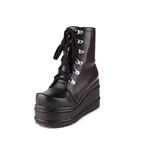 AllhqFashion Damen Hoher Absatz Weiches Material Niedrig-Spitze Rein Reißverschluss Stiefel, Schwarz, 42 -