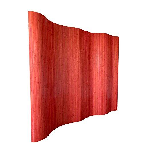 Homestyle4u 304, Raumteiler Bambus, Wellenform Rollbar, RotMatt, BxH 250x200 cm