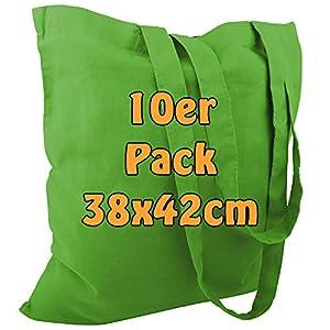 Cottonbagjoe Baumwolltasche Jutebeutel unbedruckt mit Zwei Langen Henkeln 38x42cm (Apfelgrün, 250 Stück)