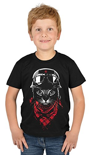 Katzen-Motiv Kindershirt - Helm Fliegerbrille Abenteuer Biker Katze - buntes Katzenshirt für Kinder : Adventurer Cat - Tiermotiv Katze Kinder T-Shirt Gr: M = ()