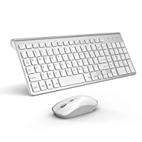 BJL BJL 2.4GHz Wireless Keyboard and Mouse, Ultra Slim Rechargeable Keyboard and Mouse Combo for PC, Laptop,Notebook, Windows XP/Vista/7/8/10-Silver and White