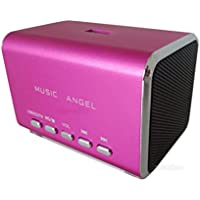 Music Angel - Altavoz mini portátil (con radio incorporada, ranura USB, ranura para tarjeta Micro SD y conector de audio de 3,5 mm, compatible con Samsung Galaxy S2, S3, Ace, Galaxy Gio, Galaxy Mini, i9003 Galaxy SL, i9010, i9100, GALAXY S II y S8530; Omnia 735, S3370, Chat 335 y Chat 350), color rosa