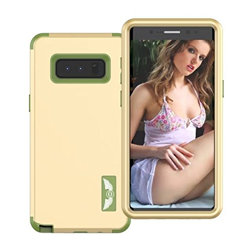 Galaxy Note 8 Coque, Lantier Anti Slip Scratch Dual Layer Heavy Duty Angel Wings Hybrid Armor Hard Soft Rubber Full Body Protective Durable Shockproof Case Cover pour Samsung Galaxy Note 8 Vert menthe