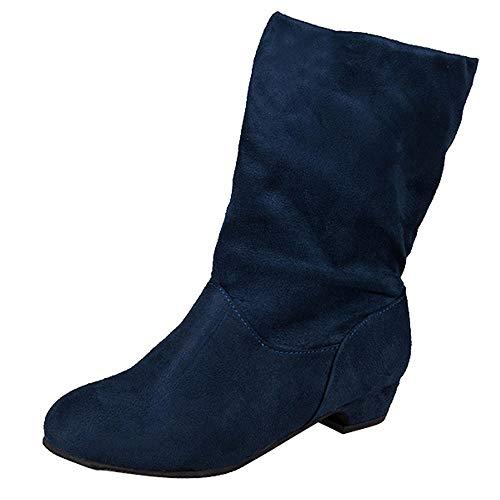 Riou Damen Halbschaft Stiefel mit Wildleder Klassische Warme Flache Winterschuhe Elegant Beiläufige Schneestiefel Damenschuhe (38 EU, Blau)