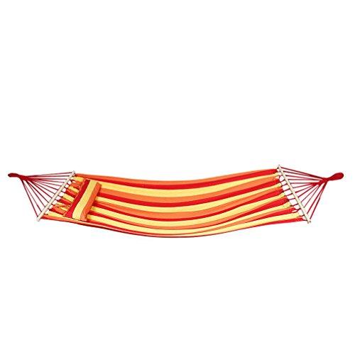 Holifine® Hängematte in Garten Outdoor Hammock Bunt Streift Hängematte Querholz 200x100cm mit der Kopfkissen Belastbarkeit bis 150 kg