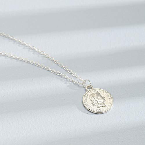 Jovono Vintage Gold Münze Anhänger Halsketten Mode Halskette Kette Schmuck für Frauen und Mädchen (silber) (Für Münze Schmuck Frauen)