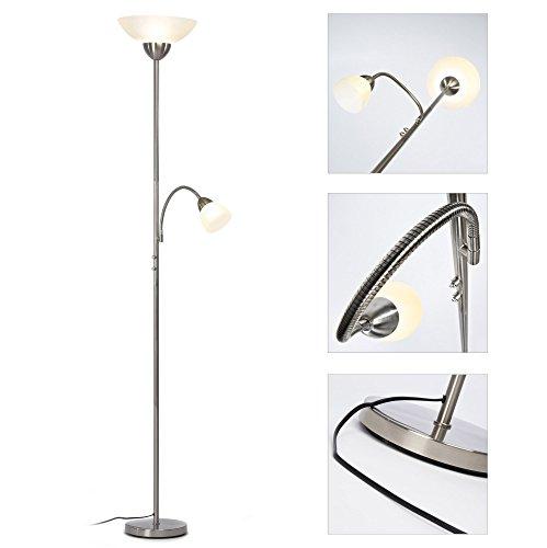 LED Deckenfluter Kira 1.100 Lumen (14W) mit Lesearm 380 Lumen (4,5W) dimmbar - eisen/weiß