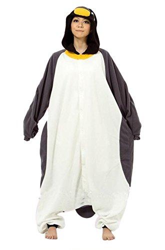 VU Roul Erwachsene Kigurumi Cosplay Tier Kostüm Pinguin Schlafanzug Grau Gr. Medium, Penguin (Adult Kostüme Adventure Time)