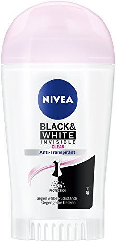 NIVEA Black & White Invisible Deo Stift im 6er Pack (6 x 50 ml), Antitranspirant Stick gegen Deo-Flecken auf der Kleidung, Deodorant mit 48h Schutz