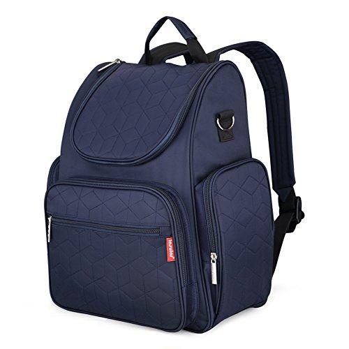 DCCN Baby Wickelrucksack Diaper Bag mit Wickelauflage und Kinderwagen Haken (Hinten Reißverschlusstasche)