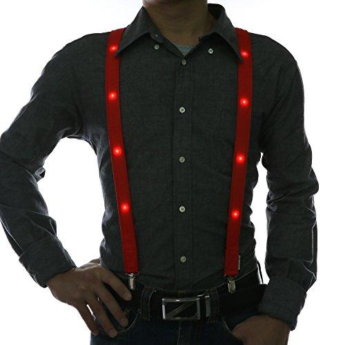 Glowseen Glühende Klammer Hosenträger für Partei-Kostüm (Rot) (Klammern Kostüme)