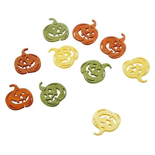Holzkürbisse - Halloween - Streudeko - Scrapbooking - Herbstdekoration - Tischdekoration - 3 farbig - gelb - grün - orange - 4 x 3,6 cm - 1 VE= 36 Stück - 8516